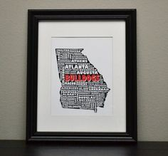 GEORGIA BULLDOGS UGA Collage State Print Customize by bandaprints, $12.50