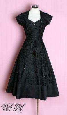 1940s Casablanca black evening dress. So pretty, I wish I had a closet full of vintage style dresses!