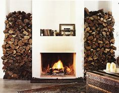 Beautiful chic fireplace with stacked firewood, incredible cabin design inspiration Autumn Inspiration, Design Inspiration, Design Ideas, Home Fireplace, Fireplace Ideas, Cottage Fireplace, Fireplace Heater, Mantel Ideas, Rustic Fireplaces