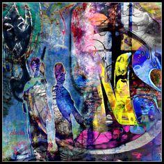 #digitalart #art #kunst #modernart #photomontage #collage  www.eluelasbilder.ch Photomontage, Digital Art, Collage, Night, Artwork, Painting, Collages, Work Of Art, Auguste Rodin Artwork
