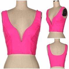"""Hot Pink Crop Top New Hot Pink Deep sweetheart neck sleeveless crop top.   Material: 96% Polyester / 4% Spandex Hand wash cold - Hang or Line Dry  Measurements: Small - Bust: 27"""" - 29"""" / Length: 15.5""""  Medium - Bust: 29"""" - 31"""" / Length:16"""" Tops Crop Tops"""