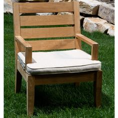 The pinnacle of outdoor furniture quality, this Indonesian teak hardwood dining arm chair will remain durable and attractive after decades of use.  Cushion sold separately.<br><br><b>All sales are final on this product.</b>
