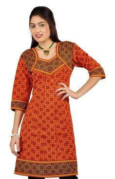 Buy Little India Designer Printed Red-Black Girls Kurti - DLI3KUR184 with cheapest price at Grabmore.in - Online Shopping of Clothing & Accessories in India.