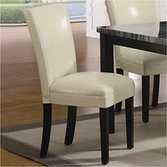 Coaster Set of 2 Parson Dining Chairs in Cream Leather Like *** Details can be found by clicking on the image.