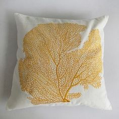 off white throw pillow with saffron yellow coral fan embroidery #dsggiveaway