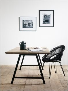 Our Albert dining table is beautiful in its simplicity. A slimline 'A' frame base supports a solid wood table top that comes as a single piece, or alternatively, as a double piece which provides an aesthetically pleasing centre line. Rattan Dining Chairs, Dining Table, Slots Decoration, Solid Wood Table Tops, Workspace Design, Deco Table, Furniture Design, Room Decor, Interior Design