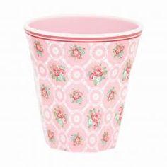 GreenGate Melamine Mug Smilla Pale Pink H cm Bella Rose, Spring Summer 2016, Pale Pink, Product Launch, Mugs, Floral, Green, Vintage, Tableware