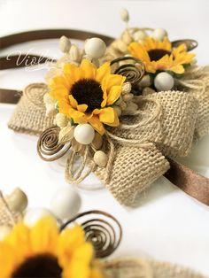 Burlap rustic sunflower bridesmaids wrist corsages | Sunflower Wedding