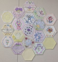 decorated hexies....interesting. I definitely prefer embroidered hexies :)