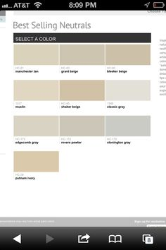 Benjamin Moore top neutral colors
