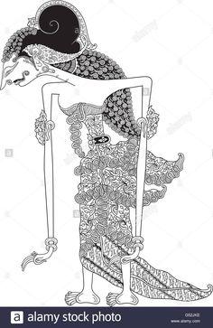 Diese Stock-Vektorgrafik herunterladen: Shinta, ein Charakter der traditionellen Puppenspiel, Wayang Kulit aus Java in Indonesien. - G52JKE aus der Alamy-Bibliothek mit Millionen von Stockfotos, Illustrationen und Vektorgrafiken in hoher Auflösung herunterladen. Shadow Puppets, Wedding Invitation, Illustration, Embroidery Designs, Ethnic, Drawings, Projects, Pattern, Leather