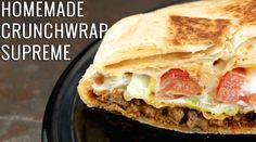 Homemade Crunchwrap Supreme Recipe Ingredients: (makes 1 lb ground meat 1 packet taco seasoning mix 6 burrito size f. Mexican Dishes, Mexican Food Recipes, Beef Recipes, Dinner Recipes, Cooking Recipes, Mexican Cheese, Nacho Cheese, Easy Recipes, Recipies