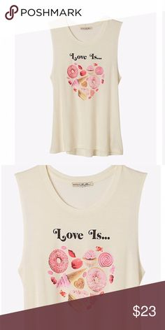 """Express one eleven """"love is """" muscle tank top  Beige and pink express one eleven love is muscle tank top. NWT Retail . Size medium. Material consists of 52% cotton , 46% micromodal. No models on this item. Comment for measurement inquiries. trades , no lowball offers , no apps outside of Poshmark. Price is FIRM unless bundled. Happy poshing  Express Tops Tank Tops"""