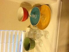 Dollar Store crafts! Ceramic bowls & plates + candle holders + clear adhesive = inexpensive candy jars & snack display!