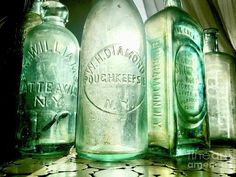 New York Antique Bottles Art Print by Anna Holstedt. All prints are professionally printed, packaged, and shipped within 3 - 4 business days. Bottles And Jars, Glass Jars, Bottle Art, Beer Bottle, Thing 1, Homemade 3d Printer, Medicine Bottles, Antique Bottles, All Art