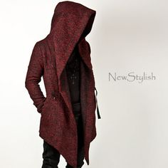 Newstylish Mens Fashion Tops Jacket Outwear Diabolic Hood Cape Coat Black Red | eBay
