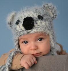 Baby Koala HatSoft & Fuzzy Newborn Photo Prop by HatAndColdCrochet, $34.00