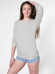 Unisex Stripe Long Sleeve Boat Neck Shirt   Long Sleeves   Women's Tops   American Apparel