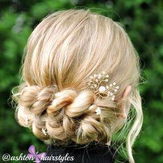 An elegant pull through braid updo.