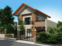 Alberto is a two-storey house design that can be fitted in a not so big lot area. The ground floor is m², while the second floor occupied by bedrooms Two Story House Design, 2 Storey House Design, Two Story House Plans, Two Storey House, Simple House Design, Bungalow House Design, House Front Design, Dream House Plans, House With Balcony