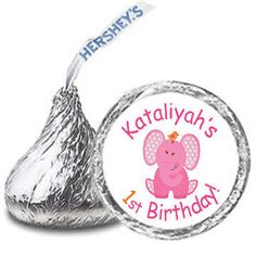 108 Personalized PINK ELEPHANTS 1st Birthday Party FAVORS Candy Kiss Labels Stickers on Etsy, $8.00