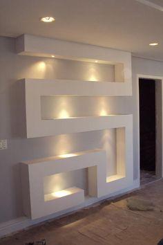 Risultati immagini per nicho gesso Ceiling Design Living Room, False Ceiling Design, Home Room Design, Home Interior Design, Living Room Designs, Interior Decorating, Niche Design, Tv Wall Design, Tv Wanddekor