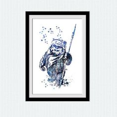 Star Wars watercolor art print Ewok colorful poster Ewok watercolor print Home decoration Kids room art Wall hanging blue poster W527