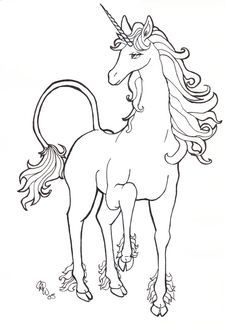 THE LAST UNICORN! that movie was my absalute fav when i was a little kid! ah, the memories. Unicorn Drawing, Unicorn Art, Unicorn Sketch, Unicorn Coloring Pages, Coloring Book Pages, Realistic Drawings, Art Drawings, The Last Unicorn, Horse Pattern