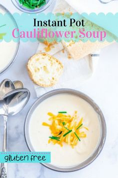 This Instant Pot Cauliflower Soup is QUICK, EASY, and hands-off thanks to the Instant Pot. Make it in under 30 minutes! Naturally gluten free – no flour required! Best Gluten Free Desserts, Gluten Free Recipes For Breakfast, Wheat Free Recipes, Gluten Free Dinner Rolls, Gluten Free Soup, Cauliflower Soup Recipes, Gluten Free Living, Fall Recipes, Instant Pot