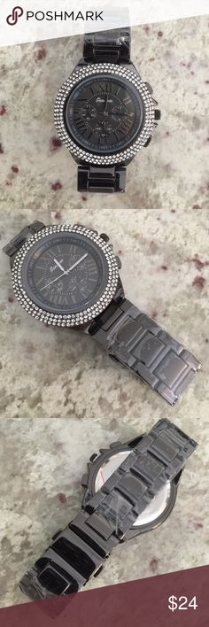 NWOT✨Beautiful Rhinestone Watch Brand new Geneva watch. Charcoal metal. Stainless steel. Water resistant. Japan mov't. Geneva Accessories Watches