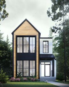 Small House Exteriors, Modern Home Exteriors, Small Modern House Exterior, Townhouse Exterior, Casas The Sims 4, Small Modern Home, Modern Cottage, Small House Design, Narrow House Designs