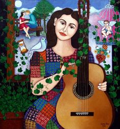 Violeta Parra collage by Madalena Lobao-Tello Musik Illustration, Music Painting, Creative Activities, Heart Art, American Artists, Doodle Art, Art Boards, Oil On Canvas, Saatchi Art