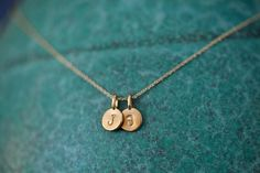 Personalized Two Charm Necklace 2 Charms Tiny Initial door annekiel