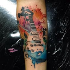 No photo description available. Guitar Tattoo Design, Music Tattoo Designs, Music Tattoos, Rock Tattoo, Tattoo On, First Tattoo, Sweet Tattoos, Little Tattoos, Tattoos For Guys