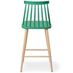 Chaise de bar nordique verte Trouville vue de dos