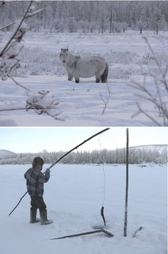 Oymyakon (Russia): coldest inhabited place on Earth at −96.2 °F (−71.2 °C)