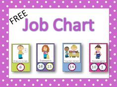 Freebie: I hope you can use the jobs in this file! If so, you have a really great way to display a job chart in your classroom! Just print out the cards and. Kindergarten Job Chart, Preschool Classroom Jobs, Preschool Job Chart, Classroom Job Chart, Classroom Helpers, Classroom Labels, Classroom Organisation, Teaching Kindergarten, Classroom Themes