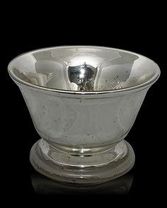 "Mercury glass footed centerpiece bowl, England, 19th century Height 6.25"" Diameter 9"""