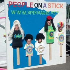 "Photo cut-outs are located throughout the fairgrounds - keep your eye out and see how many you can find! A fun way to collect memories of your fair visit! ""People on a Stick"" is located at the Spin Magic booth in The X-Zone."