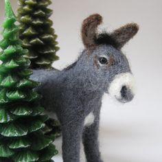 Grayson the Donkey needle felted animal by TCMfeltDesigns on Etsy, $50.00
