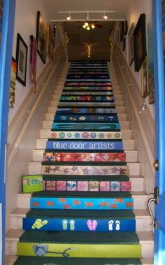 Painted Stairs - I can see this in @Amy Lyons Lyons Lyons Castine house for & 23+ Pretty Painted Stairs Ideas to Inspire your Home | Pinterest ...