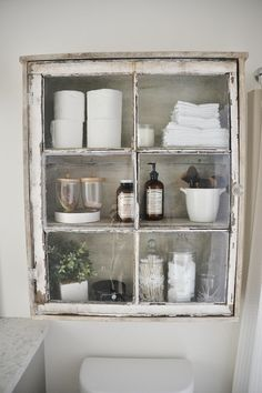 DIY antique window cabinet- See how to make this super easy antique window cabinet. Great for bathroom storage or any room in your home! DIY& The post DIY Bathroom Cabinet appeared first on Rees Home Decor. Farmhouse Bathroom Organizers, Modern Farmhouse Bathroom, Diy Kitchen Storage, Bathroom Organisation, Bathroom Storage, Rustic Farmhouse, Farmhouse Style, Kitchen Decor, Farmhouse Ideas