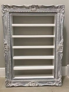 Classic Colonial Style Wood Picture Frame with display shelf distressed white vintage frame custom shelf custom display custom frame Classic Colonial Style Wood Picture F. Picture Frame Shelves, Picture Frame Crafts, Frame Shelf, Old Picture Frames, Old Frames, Frame Display, Picture On Wood, Vintage Frames, Display Shelves