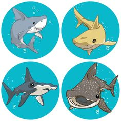 "A little collection of four pinback buttons featuring some cute cartoon sharks. These pins are 1.25"" in diameter and come on a backing card for handy gift-giving."