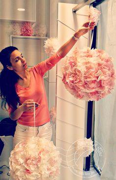 Wedding decoration flower balls Big Peach pink by AnAngelStore
