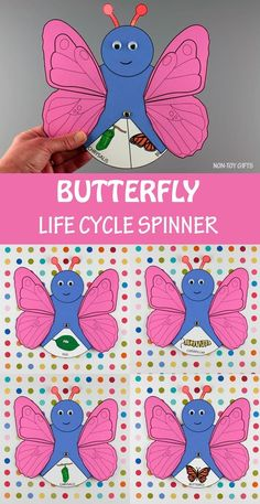 Butterfly life cycle spinner wheel. Great insect life cycle wheel for kids to make this spring #butterflylifecycle #insectlifecycle Spring Crafts For Kids, Paper Crafts For Kids, Crafts For Kids To Make, Craft Activities For Kids, Bible Activities, Life Cycle Craft, Non Toy Gifts, Butterfly Life Cycle, Life Cycles
