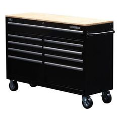 Husky 52 in. W 9-Drawer Mobile Work Bench, Black-75809AHR - The Home Depot