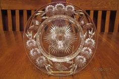 Stunning Antique Pairpoint Brilliant Cut Butterfly Flower Cheese Cracker Stand