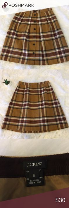 J.Crew Button Front A-Line Skirt Beautiful j.crew plaid skirt perfect for fall/winter J. Crew Skirts A-Line or Full