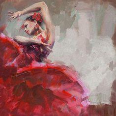 """Flamenco""  Original Oil #Painting by artist: Maryam Mughal 24"" x 24"" Canvas @CATaskForce"